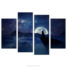 Crying Wolf in the Full Moon Night HD Photo Print on Canvas Framed and Stretched on Solid Pine Wood 4 Panels
