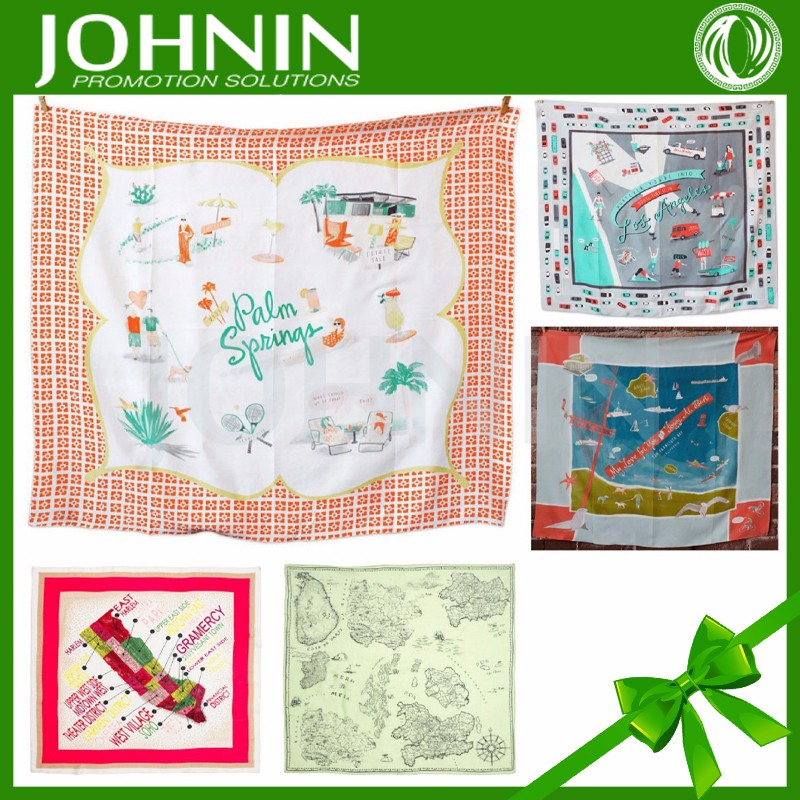 customized new design hot sales cotton material silk printing world map scarf