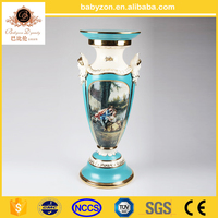 "OEM design antique luxury tiffany blue 30""ceramic porcelain art roman pillar with gold for wedding decorations"