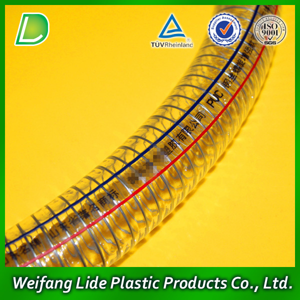 Transparent pvc steel wire reinforced hose/flexible plastic pipe/tube