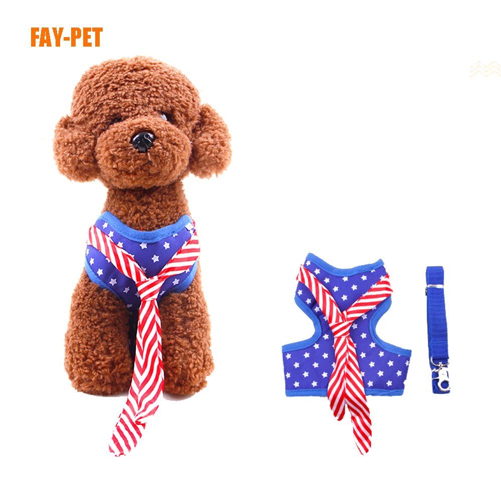 Soft cloth padded dog leash harness with bow tie metal chain dog harness