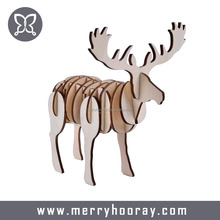 Handmade Wood 3D puzzle Moose for boy and girl creative wooden toy