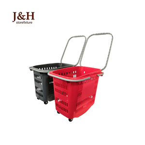 J&H Storefixture Supermarket Plastic Small Trolley Handle Cart Transport Rolling Shopping Basket With 4 Wheels