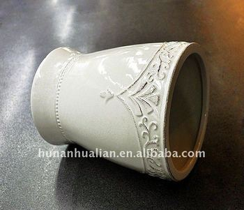 Ceramic white waste bin with embossment design buy waste for White ceramic bathroom bin
