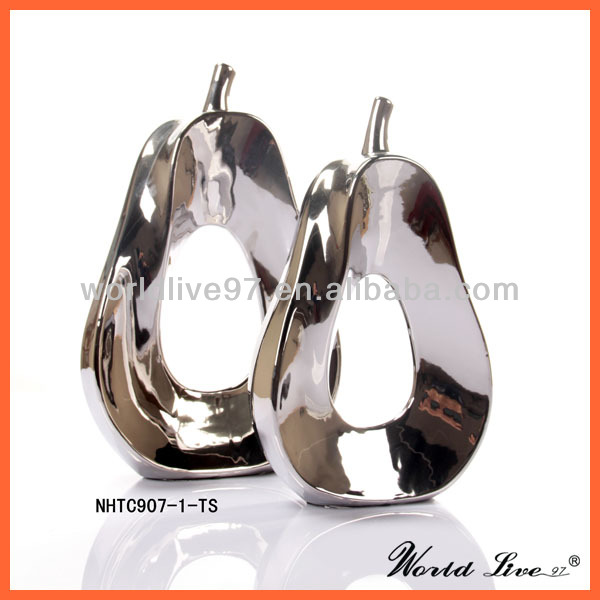 Promotion:NHTC907-1-2-TS Silver Ceramic Pear Home Decoration Guangzhou Home Decor