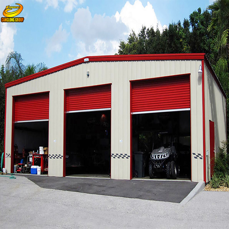 Large span big prefabricated steel structure workshop building