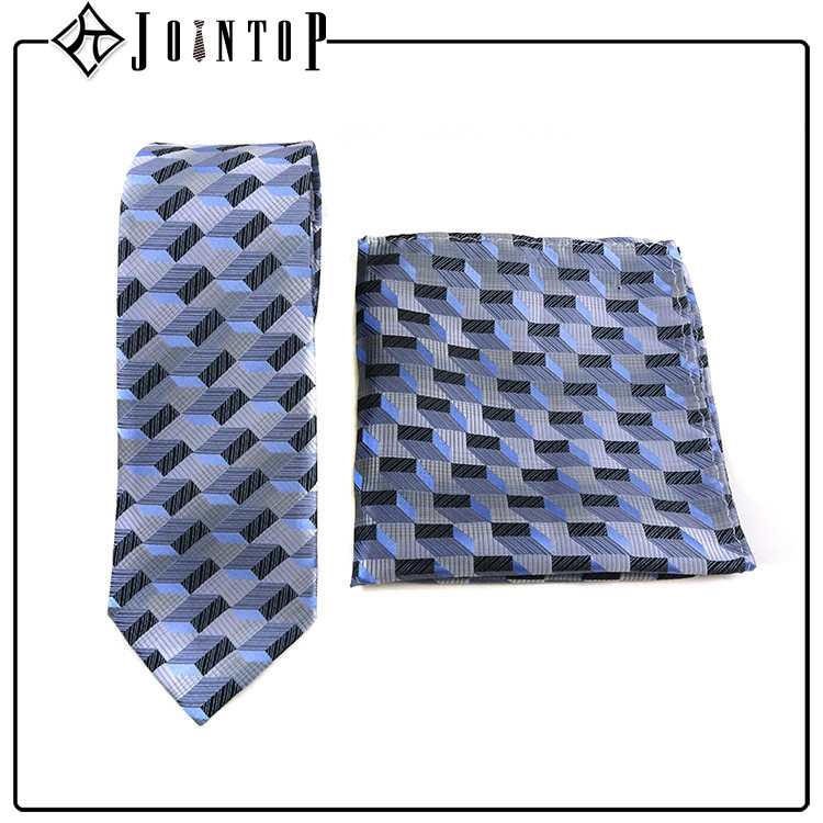 Promote fashion style man tie and pocket square for wholesale