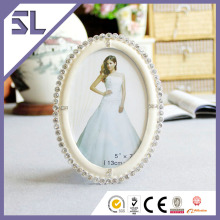 Picture Frames Wholesale 2014 New Models Creamy White With Decorative Crystals Picture Frame for Wedding Decoration