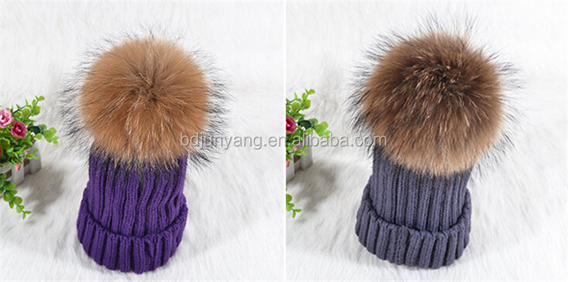 winter knitted hat/cc beanie hat with pompom/big real raccoon fur pom pom hat