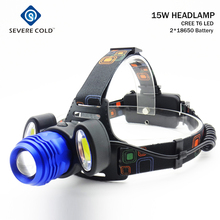 Severe Cold Zoom Headlight 8000lm 2 COB + T6 3 LED Headlamp Head Torch Light Rechargeable 18650 Battery Camping Head Lamp