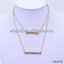 2014 China wholesale fashion jewelry two tier gold bar pendant neckalce