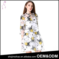 Flower Pattern One Piece Formal Umbrella Dress 3/4 Sleeve Floral Printed Loose Dress for Ladies