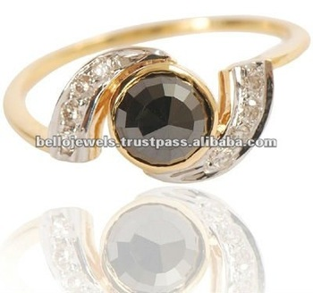 1.00 Ct Natural African Black Diamond Ring in 14 K Gold