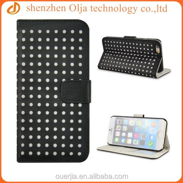 Olja fashion round dot leather case for iphone 6 plus, for iphone 6 plus wallet leather case, factory price for wholesale