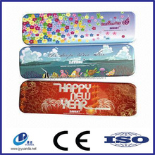 Customized Wholesale Fancy design tin pencil boxes with hinge/metal pencil cases/pencil tin can