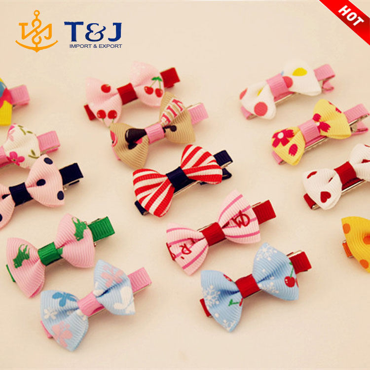 2016 Wholesale hot Sale kids barrette cute bobby pin korean style hairpin fabric bowknot hair clip for children