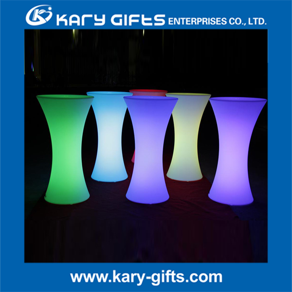 led lighted cocktail table lithium battery night club plastic LED High Bar Table