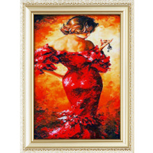 2017 High Quality Sexy Woman In Red Pattern Crystal Diy Diamond Painting For Wall Art