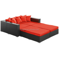 Multi-purpose outdoor furniture set air wicker lounge sofa bed