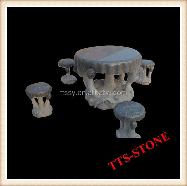 Carved marble mushroom table and stool