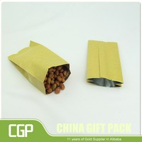 plastic lined kraft paper bag with ziplock aluminum foil brown kraft paper bag