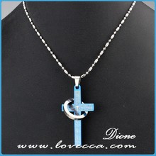 Top quality dubai custom stainless steel cross pendant link silver ring necklace