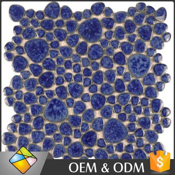 China Supplier Glazed Porcelain Blue Color Irregular Shape Ceramic Mosaic Floor and Wall Tiles
