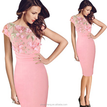 Elegant knee length prom frock pink embroidered homecoming gowns designer one piece party dress