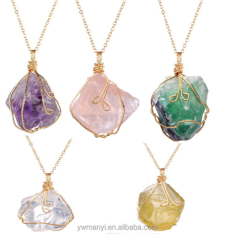 Hot sell high quality irregular pink purple green crystals necklaces for women