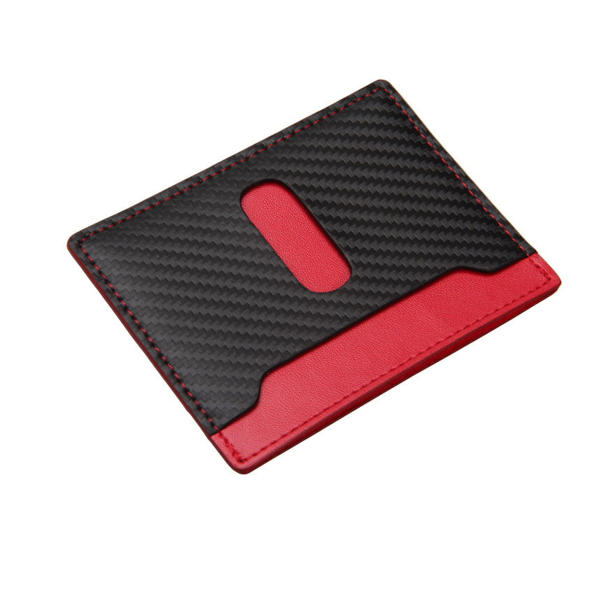 Black Red RFID Blocking Carbon Fiber Leather Slim <strong>Wallets</strong> For Mens
