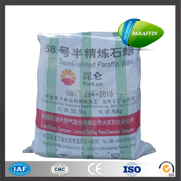 China Daqing semi refined candle making kunlun brand paraffin wax