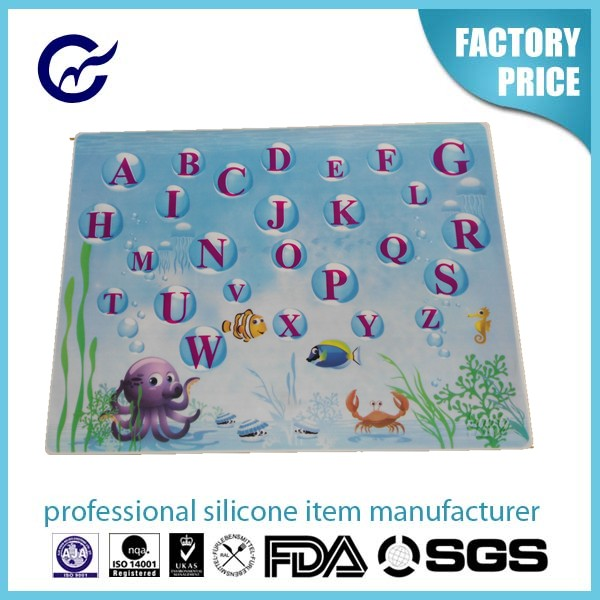 New Arrival Custom Alphabets Silicone placemat full printing pattern baking mat