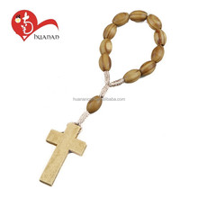 Hot New Products small size Jesus Cross woven wood finger ring