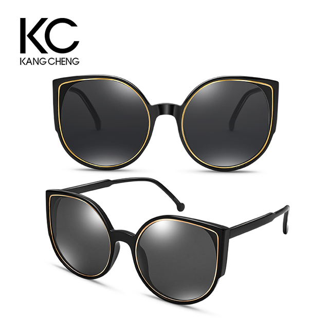 Luxury Metal Hinge Cat Eye Frame Black wholesale High Quality Fashion Sunglasses