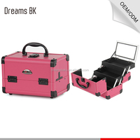 "14 "" Pro Pink Aluminum/PVC Makeup Train Case with Mirror Jewelry Box Cosmetic Organizer Kit"