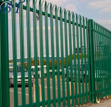 Metal pipe wrought iron steel powder coated security palisade fencing / D type W type head powder