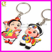2013 lovely hot selling promotional gifts silicone rubber bride and groom keychain