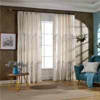 Cheap price Karachi office tree pattern embroidered curtain drapes with pinch pleated