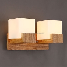 E27 High quality squre modern wood wall lamp for hotel