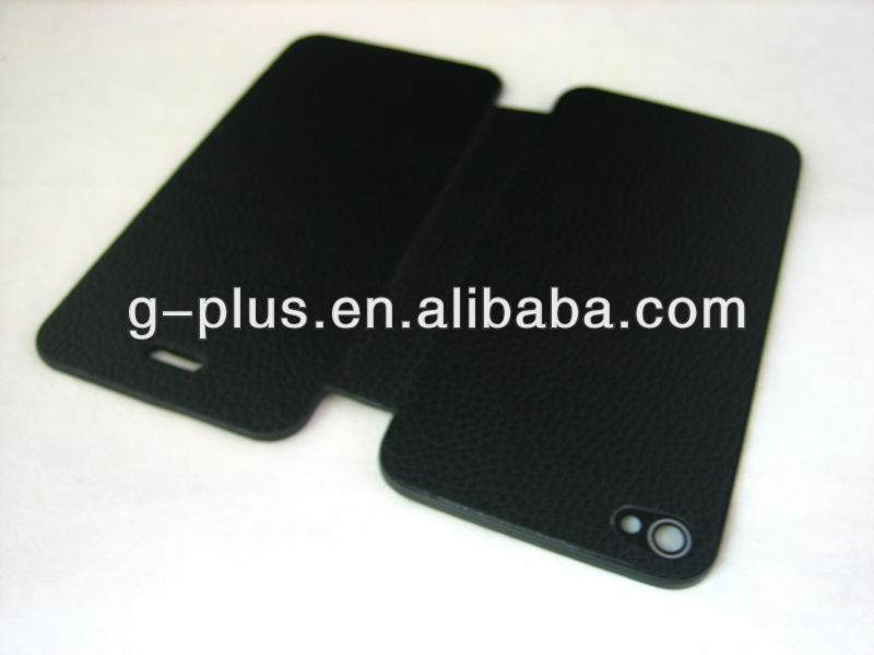 Black Leather Flip Cover Carrying Case Pouch for iPhone 4S (for all version) / iPhone 4 (for US CDMA Verizon version)