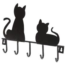 Black Cats Design Wall Mounted Metal Hanger Rack with 5 Key Hooks