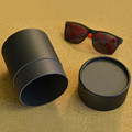 high end quality recycled paper tube matte black kraft round box for sunglasses gift packaging box round hat box with lid