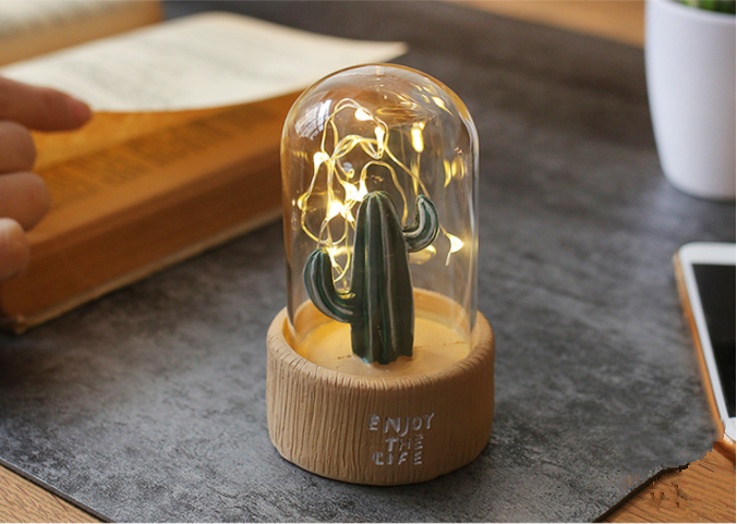 Quarto resina sonho cactus lâmpada noite
