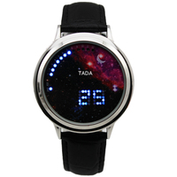 Fashion Cool MEN Clock Watch Iron Man Blue TADA BRAND LED Watches Luxury true leather band led touch Wristwatch gift