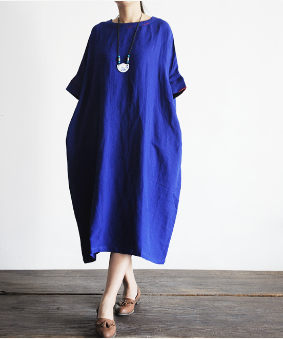 Summer wear original blue cotton and linen ultra-loose dress is the big robe