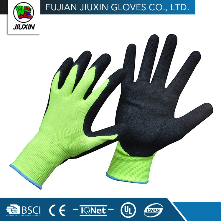 Safety Industrial Nitrile Coating Motorbike Gloves Waterproof