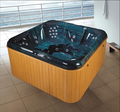 Outdoor big massage bathtub with wooden skirt AT-8806