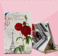 360 Rotating Smart Magnetic Leather Flower Patten Printed Tablet Cases Stand Cover For iPad 2 3 4