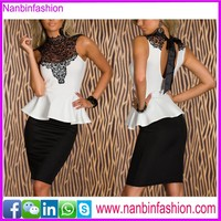 White and black two piece lace office dress patterns