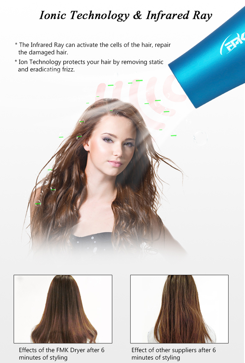 2018s New Arrivals Professional AC Motor Salon Ionic Hair Dryer with Infrared Rays and Cool shot Air Function